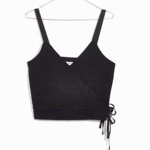 MADEWELL black wrap tie V neck blouse